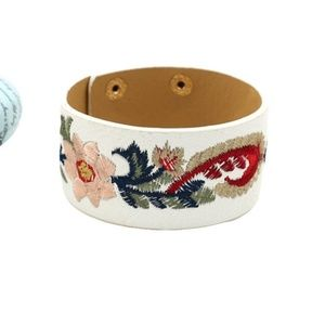 Jewelry - Floral Embroidered Cuff Snap Bracelet Boho